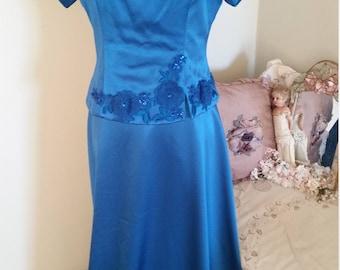 blue vintage dress, evening gown, prom formal, alternative wedding dress, floral lace sequins, long blue dress