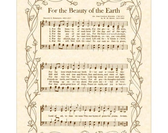 FOR The BEAUTY Of The EARTH Christian Home And Office Decor Vintage Verses Sheet Music Hymn Wall Art Inspirational Wall Art Nursery Wall Art