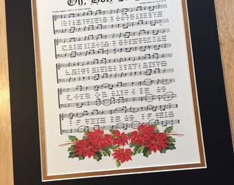 Oh HOLY NIGHT AKA Matted Christmas Carol Wall Art Christian Holiday Home Office Decor Vintage Verses Sheet Music Wall Art Inspirational Hymn