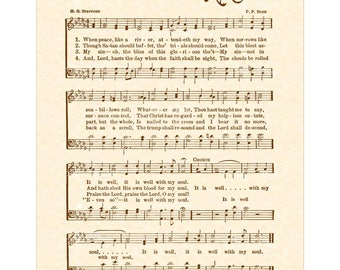 It Is WELL With My SOUL A.K.A. When Peace Like A River Hymn Wall Art Christian Home & Office Decor Sheet Music Wall Art Vintage Verses Sale