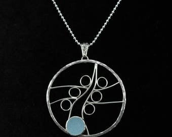 Light blue sea glass bleach glass sterling silver necklace N1929