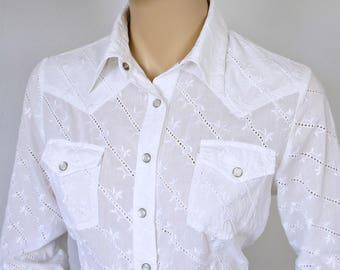 Western Blouse White Eyelet Women's Vintage Southwest Shirt Size Small