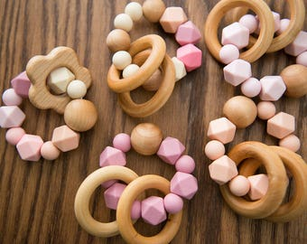 Teething Rattle - Dusty Rose - Fall Winter Collection