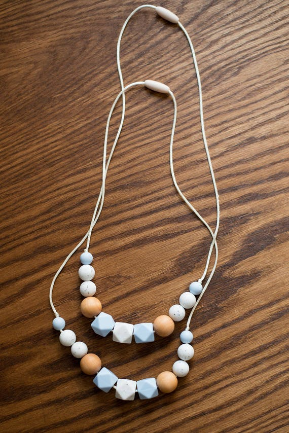 Teething Necklace - Speckled Baby Blue - Fall Winter Collection