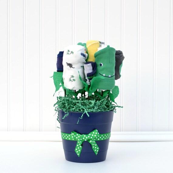 Boy Newborn Gift Set, New Parent Gift, Navy Green Baby Shower Decor, Dinosaur Baby Shower Gift, Dinosaur Nursery, Boy Infant Gift Set