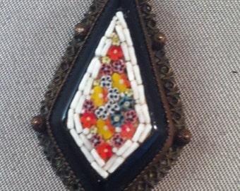 Micro Mosaic Pendants, Italian Micro Mosaic Pendant w/ Onyx, Micro Mosaic Floral Designed Pendant, Mosaic Jewelry,USA ONLY