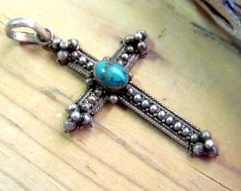 Vintage Sterling Silver & Turquoise Cross Pendant