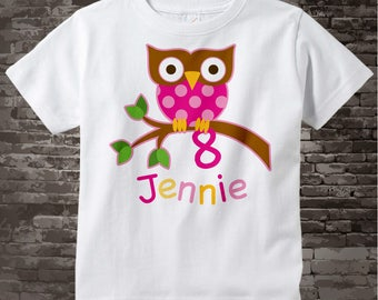 8 Year Old Owl Shirt, Pink Girl's Owl Age Shirt Personalized with Child's Name and age tshirt 02032014c