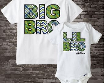 Set of Two Big Brother and Lil Little Brother Shirt Personalized Infant, Chevron and Plaid Toddler or Youth Tee Shirt or Onesie 07172015f