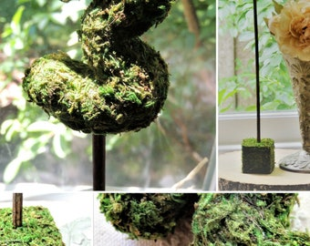 TABLE NUMBERS 1-30 Moss Covered On Sticks With or Without Base Rustic Forest Weddings Table Decor Seating Centerpiece Wood Tall Long Stands