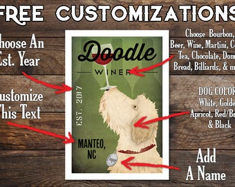 FREE CUSTOMIZATION Doodle Goldendoodle Labradoodle Wine Cellars Vineyards Wheaten Poster Sign  Archival Giclee Print