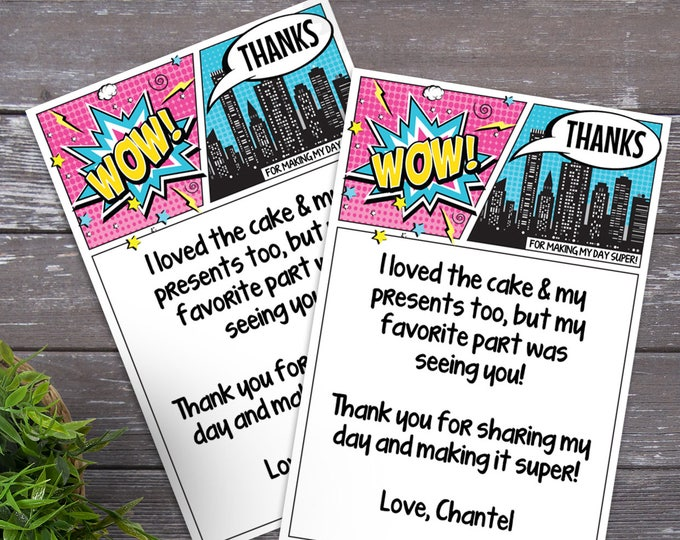 Supergirl Thank You Card - Superhero Birthday, Comic Book Thank You Note, Self-Editing | DIY Editable Text INSTANT DOWNLOAD Printable