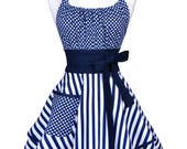 Flirty Chic Retro Apron - Womens Sexy Nautical Navy Blue White Stripes and Polka Dots Hostess Pinup Apron with Pockets (FM)