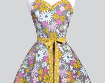 Sweetheart Pinup Womans Apron - Gold Pink Taupe Floral Retro Vintage Inspired Flirty Ruffled Kitchen Apron with Pockets