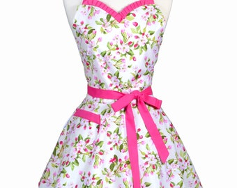 Sweetheart Womens Apron - 50s Style Pinup Spring Pink and Green Apple Blossom Retro Cute Flirty Vintage Style Kitchen Apron to Monogram (DP)