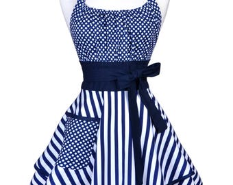 Womens Flirty Chic Apron / Navy Blue White Stripes and Polka Dots Cute Retro Vintage Style Pin up Kitchen Cooking Apron with Pockets (FM)