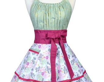Flirty Chic Retro Apron - Mint and Pink Floral with Raspberry Trims Vintage Style Retro Kitchen Apron with Monogram Option (DP)