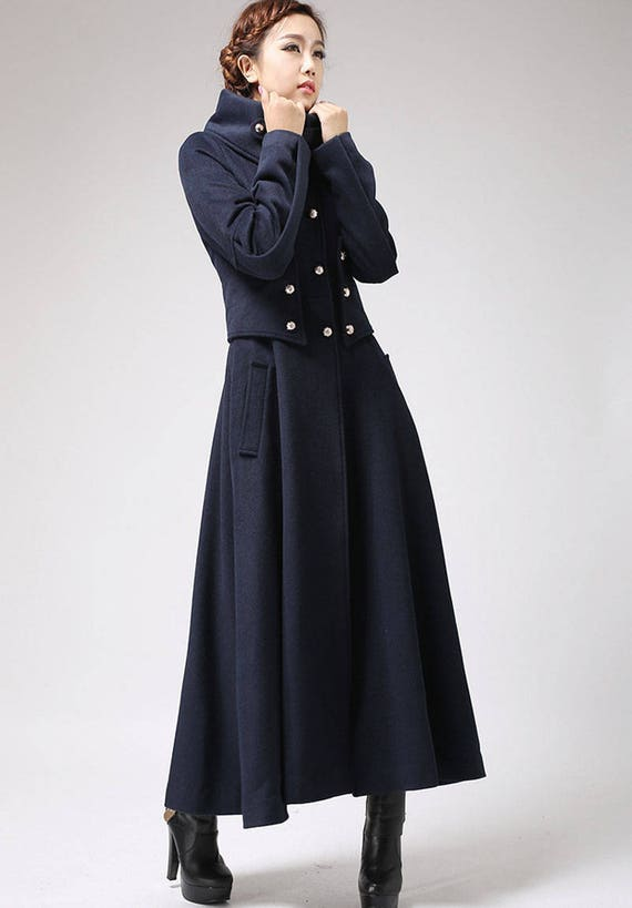 Military coat long coat wool coat navy coat warm coat