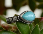 Stacking Rings - Amazonite and Sterling - Sterling Silver - Set of Three - Size 6.5 - Boho Fashion - Turquoise Ring