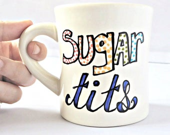 Funny Mug, Sugar tits, funny coffee mugs for women, personalized, rainbow, funny best friend gift, ceramic, inappropriate, naughty, for her