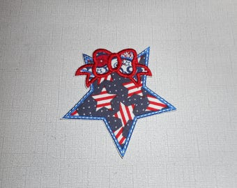 Free Shipping Ready to Ship Fourth of July Star Machine embroidery  iron on applique