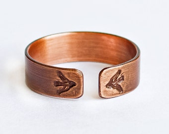 Bird Ring - Handcrafted Stamped Copper ring with Brushed Matte Finish, Adjustable and Lightweight