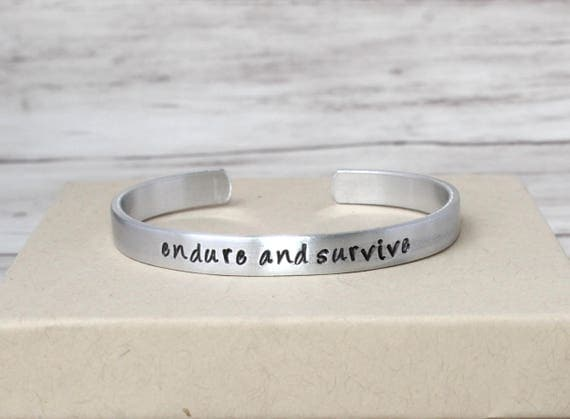 Endure and Survive Bracelet, Gamer Jewelry, The Last of Us, Motivational Quotes