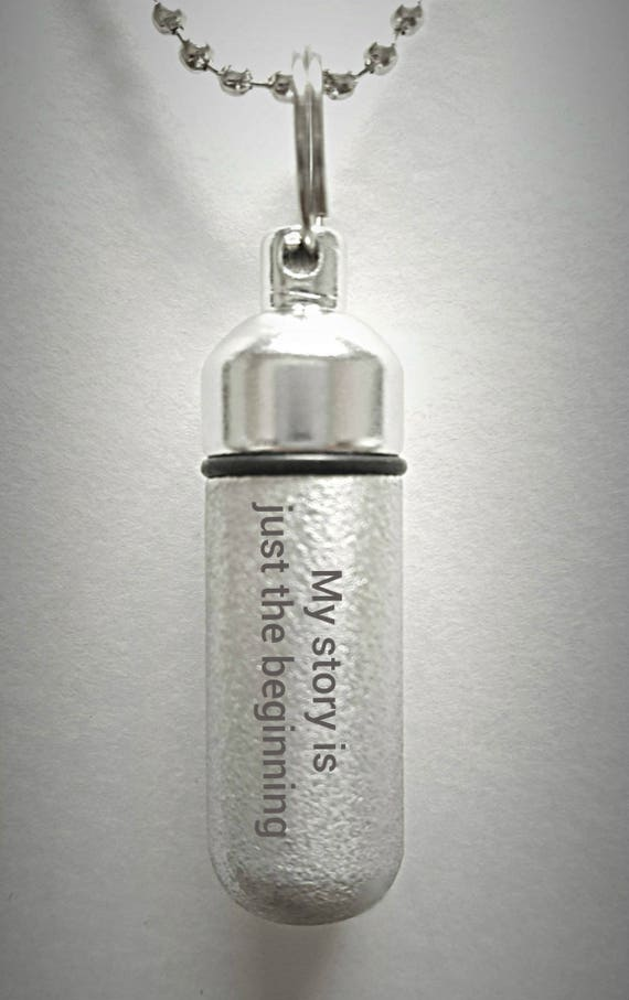 """Engraved  """"My story is just the beginning""""  Brushed Silver CREMATION URN Necklace with Velvet Pouch and Fill Kit"""