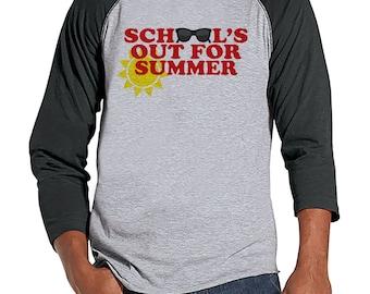 Teacher Shirts - School's Out For Summer - Teacher Gift - Teacher Appreciation Gift - Red Sunglasses Summer Shirt - Men's Grey Raglan Tee