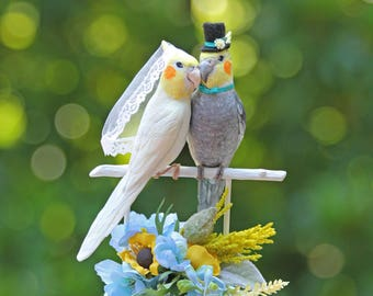 RESERVED for RAE - Custom Cockatiel Wedding Cake Topper in Yellow and Teal