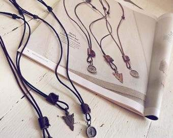 Men's rugged distressed leather necklace with compass // handmade sewn sliding leather patch // boys youth adjustable surf skate necklace