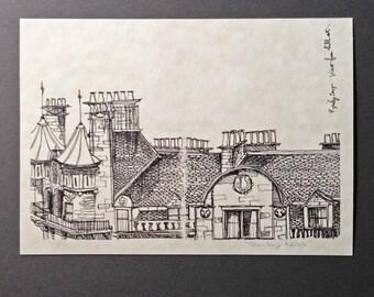 sketchbook print - Glasgow St. George's Mansions 5x7 digital print