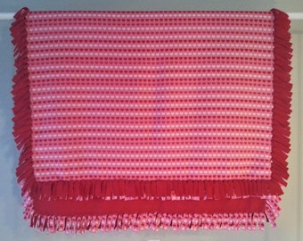 Fleece Blanket - Hand-Tied Fringe Throw - Holiday Theme - St. Valentine's Day Hearts