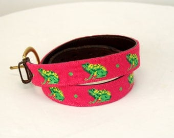 Vintage belt needlepoint frogs pink green Preppy hand made leather belt brass buckle Size M/L