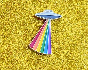 Gay Alien Pride - UFO beaming the Pride Rainbow -  Enamel Lapel Pin - UFO Grey Alien LGBTQ+ Pride Celebration Pin