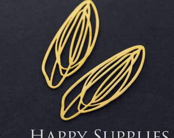 Exclusive - 4pcs Raw Brass Leaf Charm / Pendant, Fit For Necklace, Earring, Brooch (RD321)