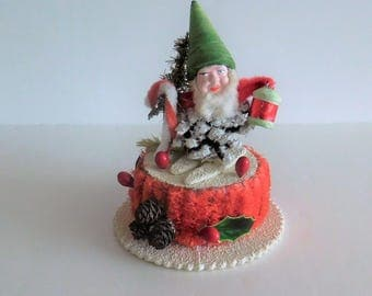 Vintage Candy Container - Spun Cotton Pinecone Elf on Skis