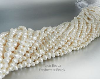 Freshwater Pearls 6mm Loose Pearls White Potato Pearl Beads Nugget Pearl