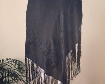 FLASH SALE 1920s - 1930s Embroidered Black Silk Piano Shawl Noir Bohemian Gypsy