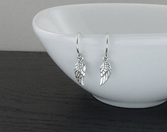 Tiny Angel Wing Earrings - Sterling Silver Wings Earrings - Silver Dangle Earrings, Trendy Earrings, Gift for Girlfriend, Gift for Mom