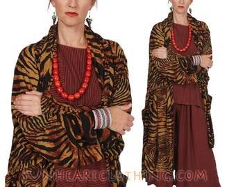 SunHeart Goddess BATIk HEROINE Coat RESORTWEAR Tiger boho Hippie Chic Shaman one size Sml Med Large xl 1x 2x 3X 4X 5X 6X 7X