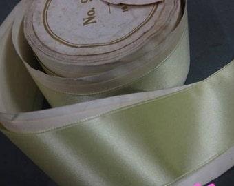 Vintage French silk ribbon antique Victorian era 1 1/2 in Absinthe green Y1070