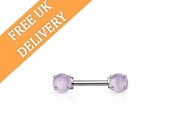 Nipple Piercing, Stone Nipple Bar, Nipple Ring, Nipple Jewelry, Semi Precious Nipple Barbell, Body Piercing,Body Jewelry,Gipsy Body Piercing