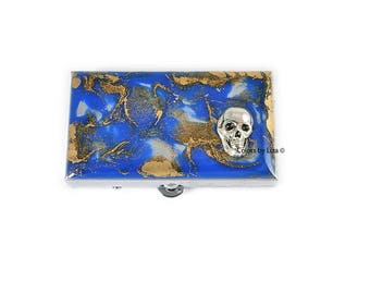 Skull Head Metal Pill Box Hand Painted Enamel Enamel in Cobalt Blue Quartz Inspired Pill Case with Personalized and Color Options
