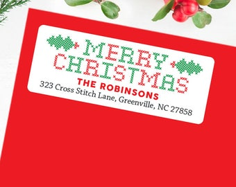 Christmas Address Labels - Christmas Cross Stitch - Sheet of 30