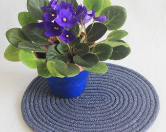 Coiled Rope Mat / Coiled Clothesline Placemat / Hot Pad / Trivet / Denim Blue Oval Coiled Mat by PrairieThreads