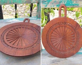 """Beautiful Vintage Carved Wood Geometric Circle Mandala with Unique Carved Loop for Hanging measuring 12"""" x 9.5"""" ~ Bohemian Hippie Decor ~"""
