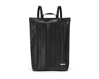 Women black backpack. Rucksack for womens. Handmade in Italy from inner bike tubes