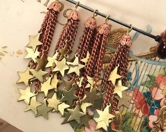 Vintage Tassel, Drops, Fringe Charms, Fringe connectors, Filigree Drops, Star Charms, Vintage Star Drops, Stars, Vintagerosefindings, #1487B