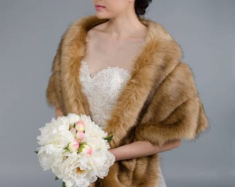 Brown faux fur wrap bridal wrap faux fur shrug faux fur stole faux fur shawl faux fur cape B001-brown